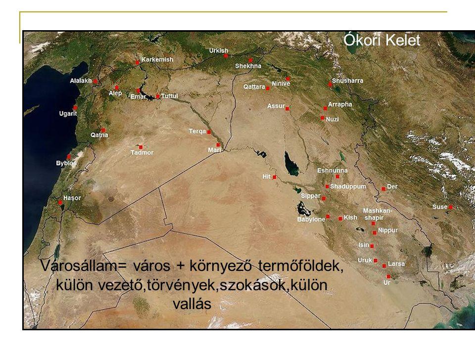 Ókori Kelet Városállam= város + környező termőföldek, külön vezető,törvények,szokások,külön vallás