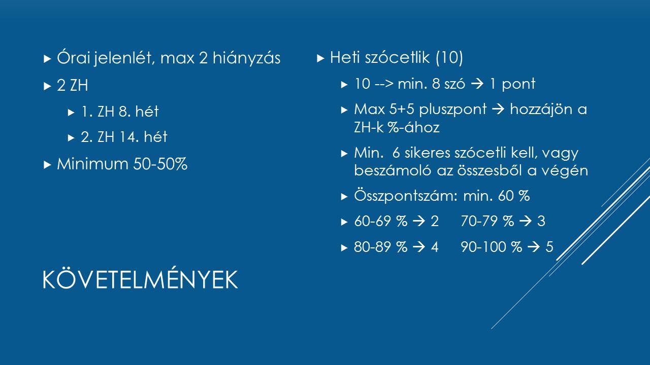követelmények Órai jelenlét, max 2 hiányzás 2 ZH Minimum 50-50%