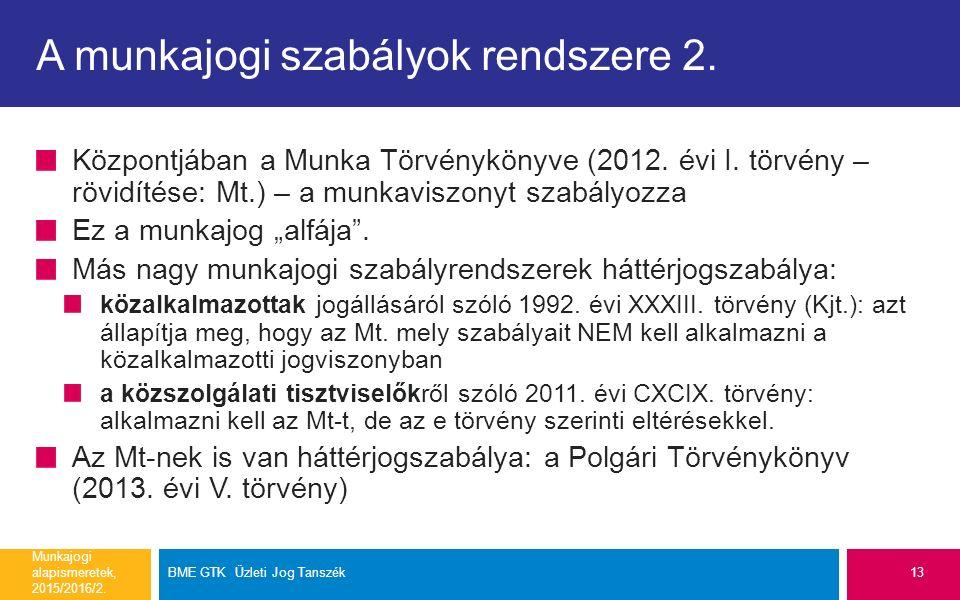A munkajogi szabályok rendszere 2.