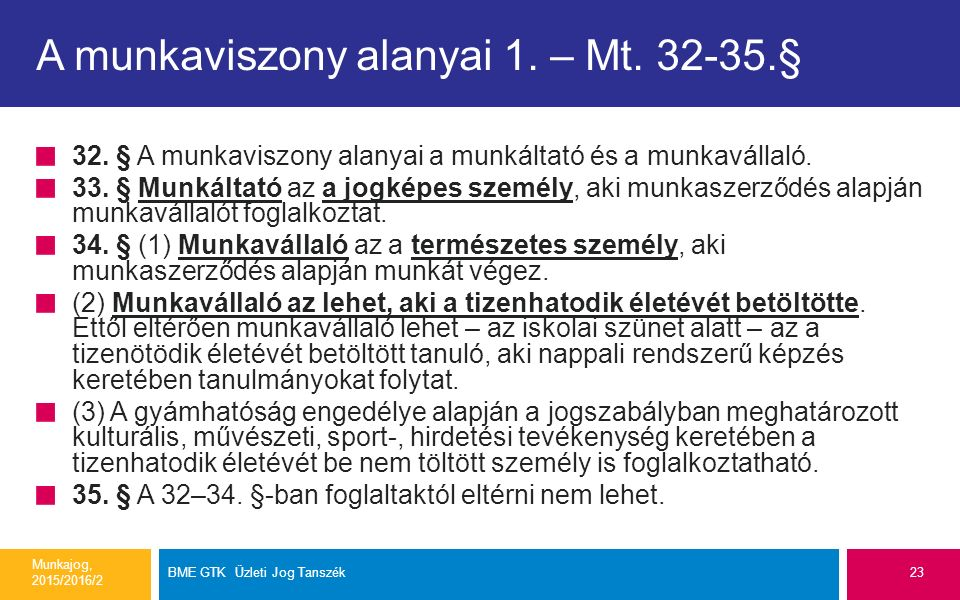 A munkaviszony alanyai 1. – Mt. 32-35.§