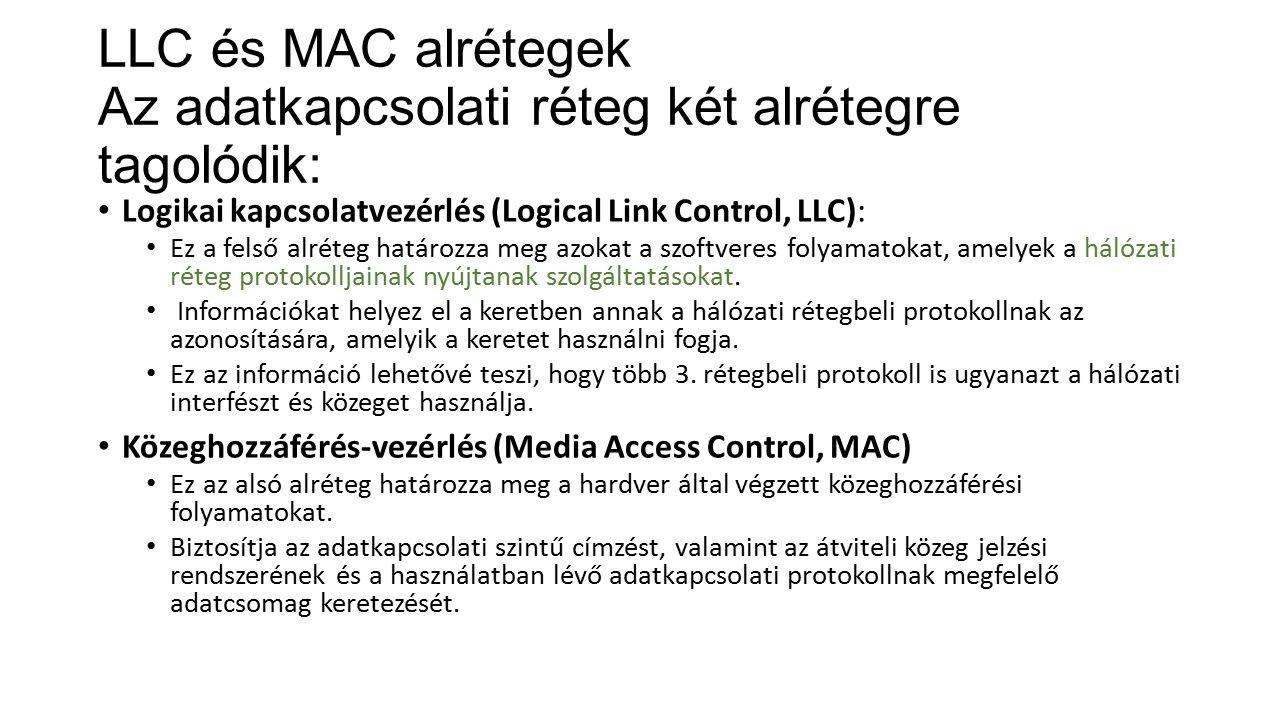 LLC és MAC alrétegek Az adatkapcsolati réteg két alrétegre tagolódik: