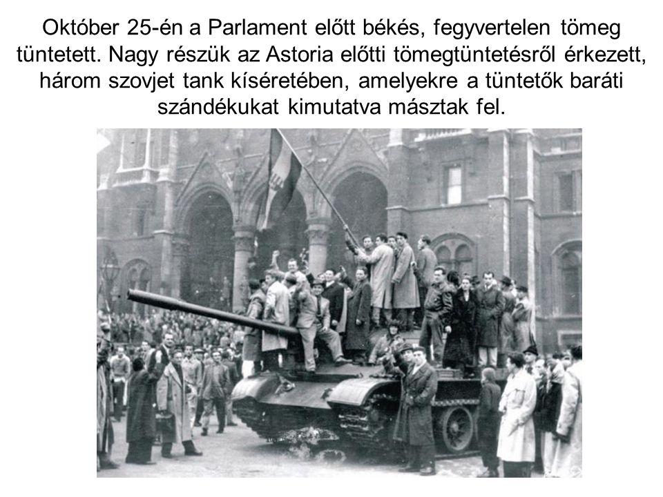 Október 25-én a Parlament előtt békés, fegyvertelen tömeg tüntetett