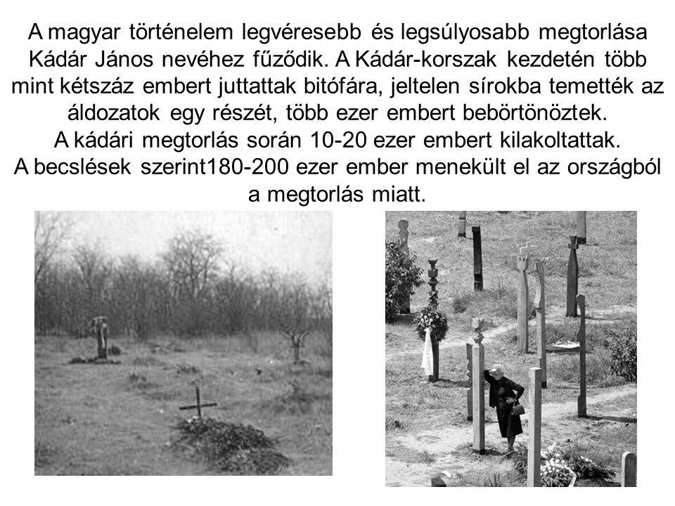 A kádári megtorlás során 10-20 ezer embert kilakoltattak.
