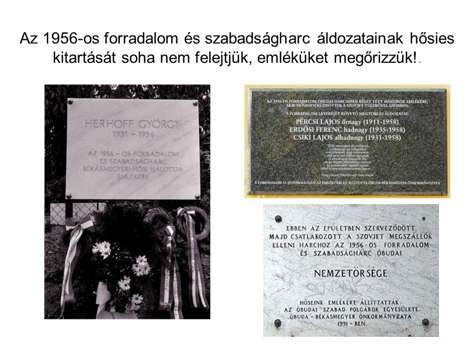 Az 1956-os forradalom és szabadságharc áldozatainak hősies kitartását soha nem felejtjük, emléküket megőrizzük!.