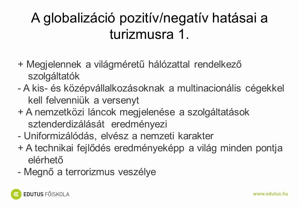 A globalizáció pozitív/negatív hatásai a turizmusra 1.