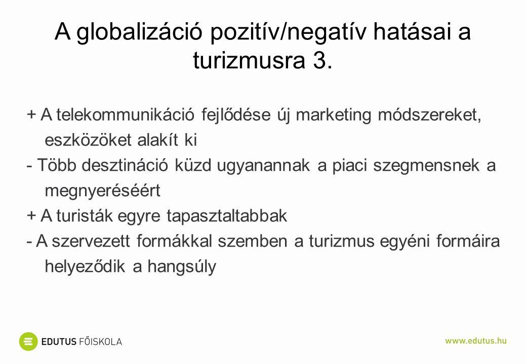 A globalizáció pozitív/negatív hatásai a turizmusra 3.