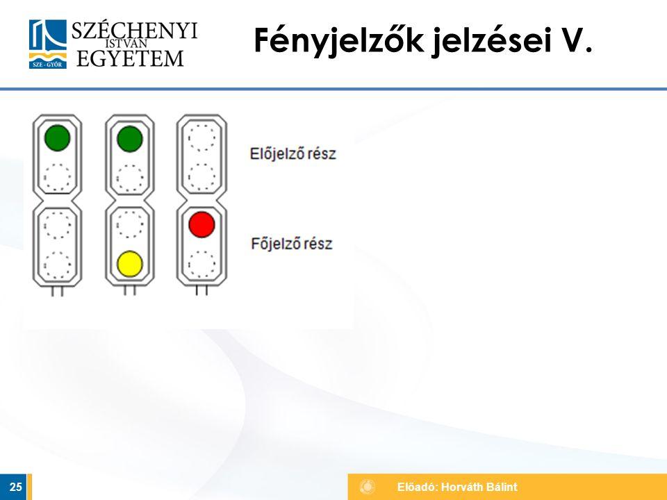Fényjelzők jelzései V. 25 Előadó: Horváth Bálint