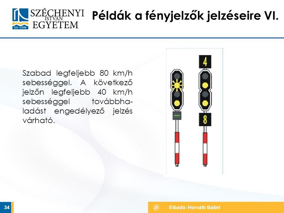 Példák a fényjelzők jelzéseire VI.