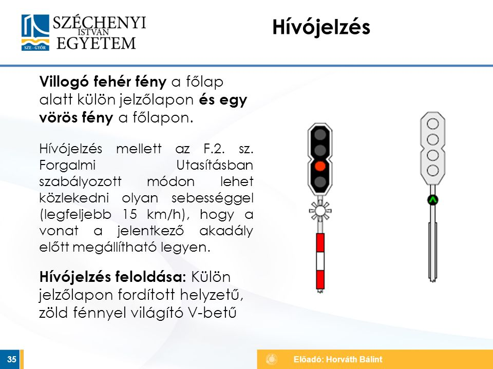 Hívójelzés Villogó fehér fény a főlap alatt külön jelzőlapon és egy vörös fény a főlapon.