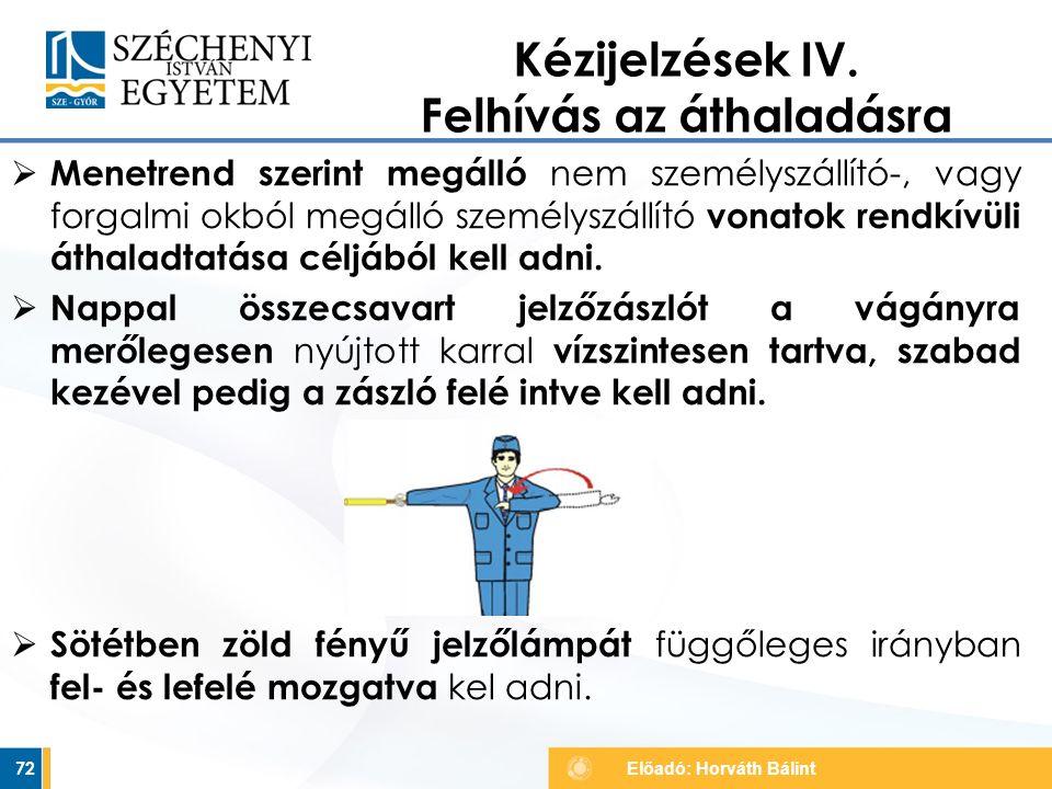 Kézijelzések IV. Felhívás az áthaladásra