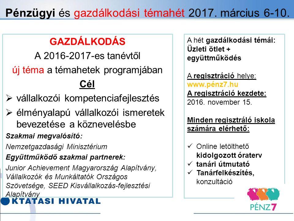 Pénzügyi és gazdálkodási témahét 2017. március 6-10.