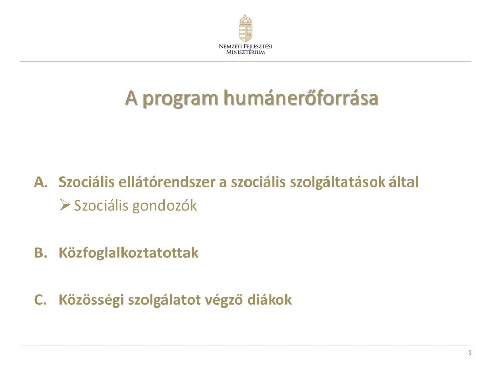 A program humánerőforrása