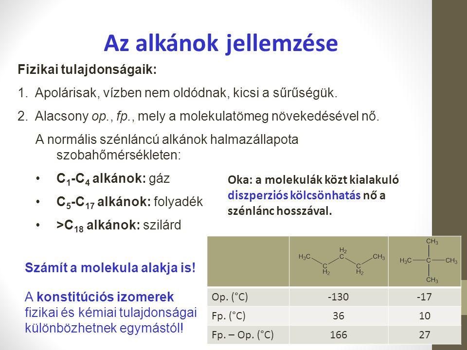 Az alkánok jellemzése Fizikai tulajdonságaik: