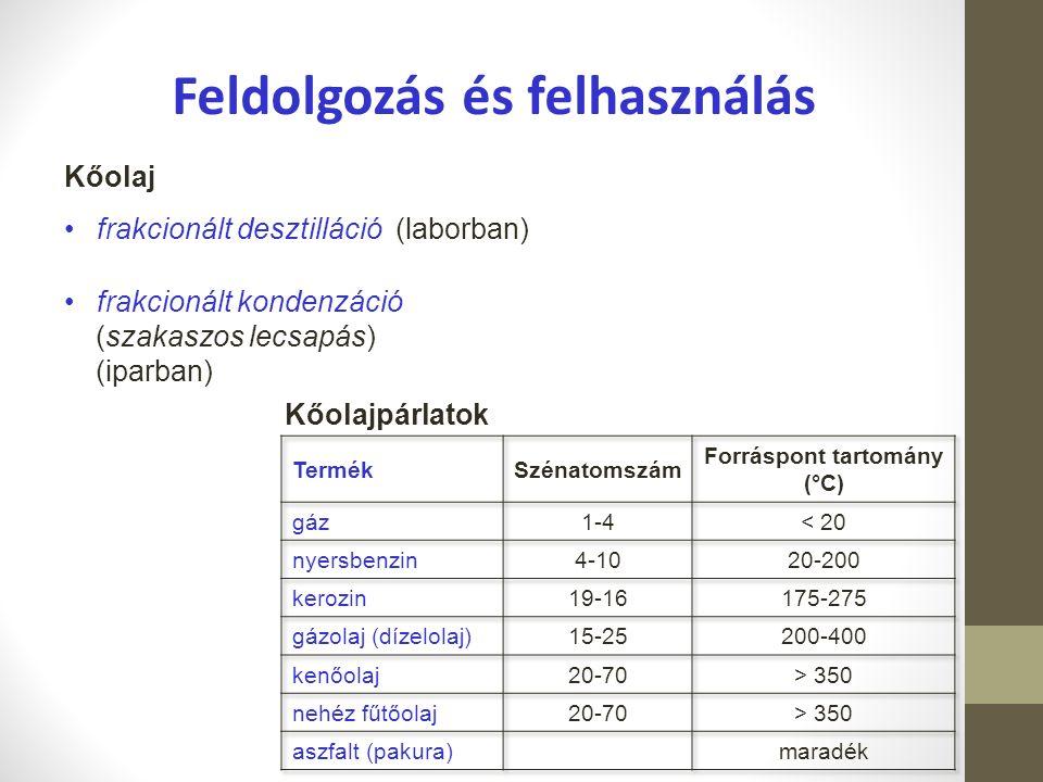 Feldolgozás és felhasználás Forráspont tartomány (°C)