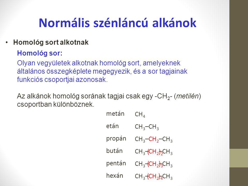 Normális szénláncú alkánok