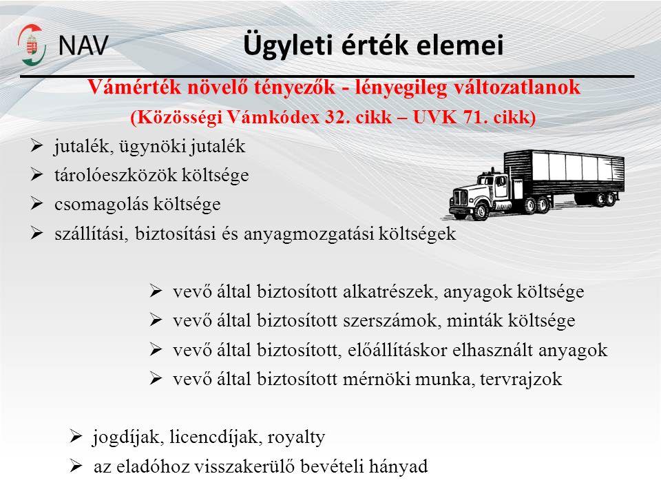 Ügyleti érték elemei Vámérték növelő tényezők - lényegileg változatlanok. (Közösségi Vámkódex 32. cikk – UVK 71. cikk)