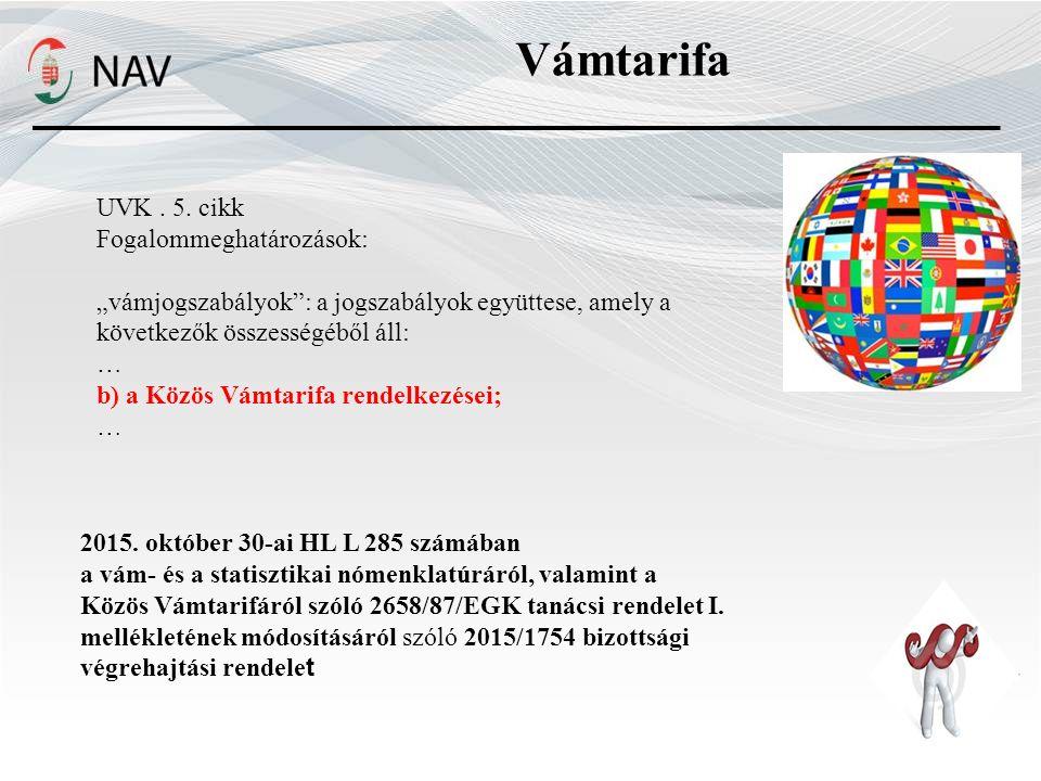 Vámtarifa UVK . 5. cikk Fogalommeghatározások: