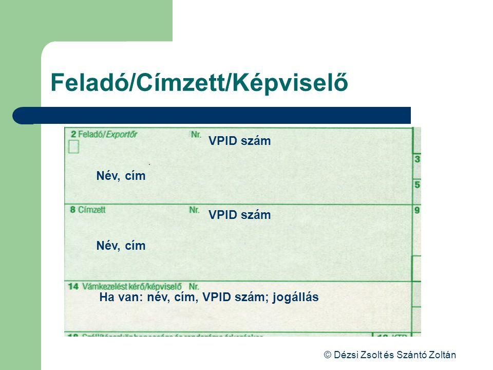 Feladó/Címzett/Képviselő
