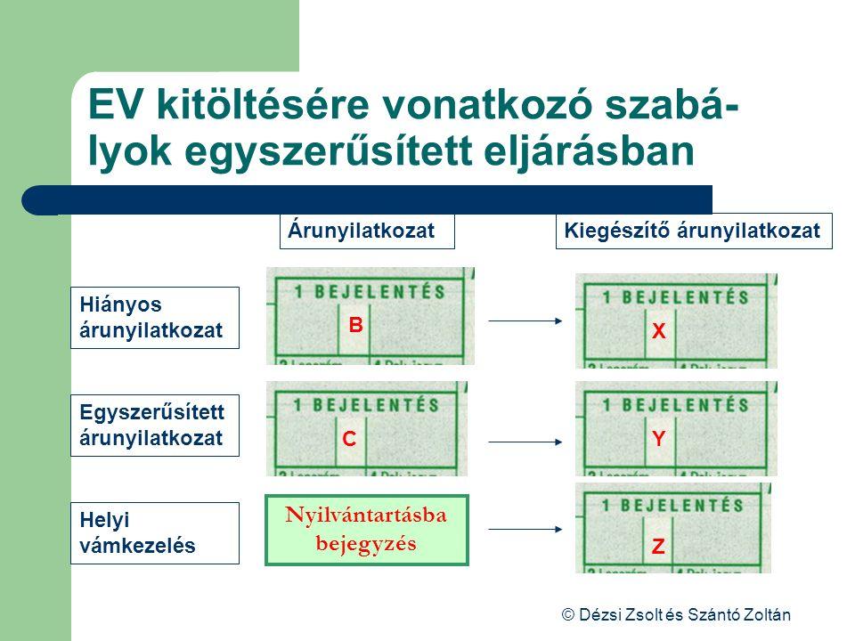 EV kitöltésére vonatkozó szabá-lyok egyszerűsített eljárásban