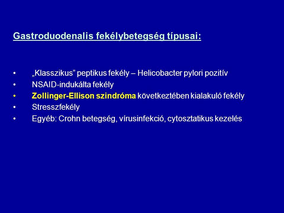 Gastroduodenalis fekélybetegség típusai: