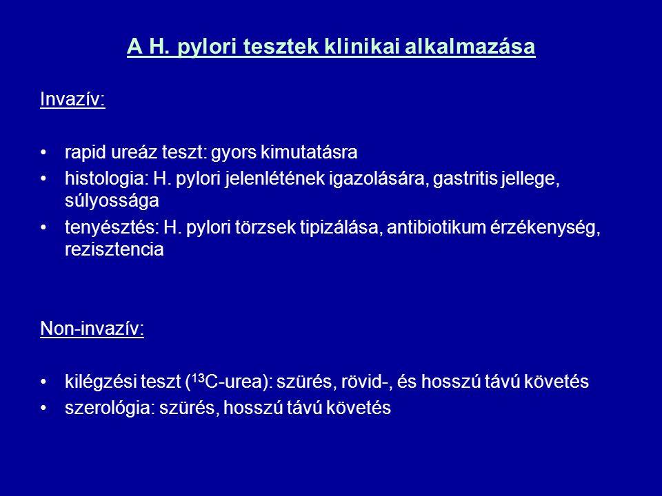 A H. pylori tesztek klinikai alkalmazása