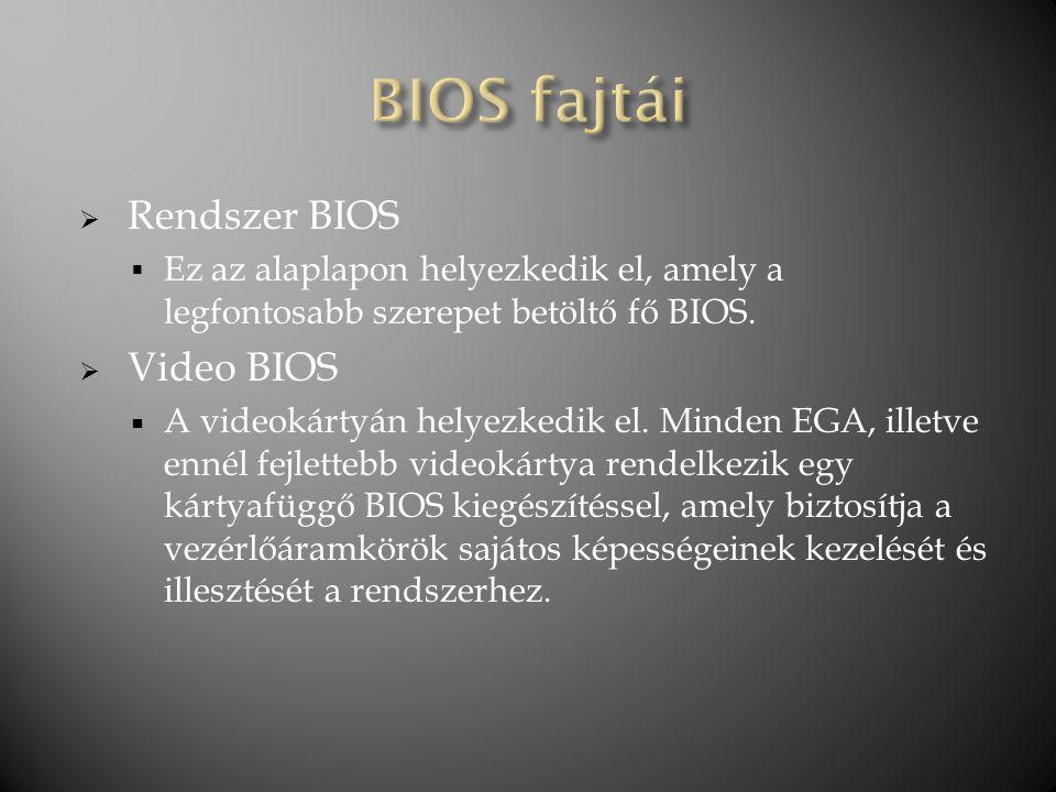 BIOS fajtái Rendszer BIOS Video BIOS