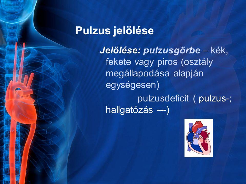 Pulzus jelölése Jelölése: pulzusgörbe – kék, fekete vagy piros (osztály megállapodása alapján egységesen)