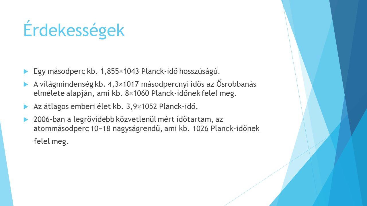 Érdekességek Egy másodperc kb. 1,855×1043 Planck-idő hosszúságú.