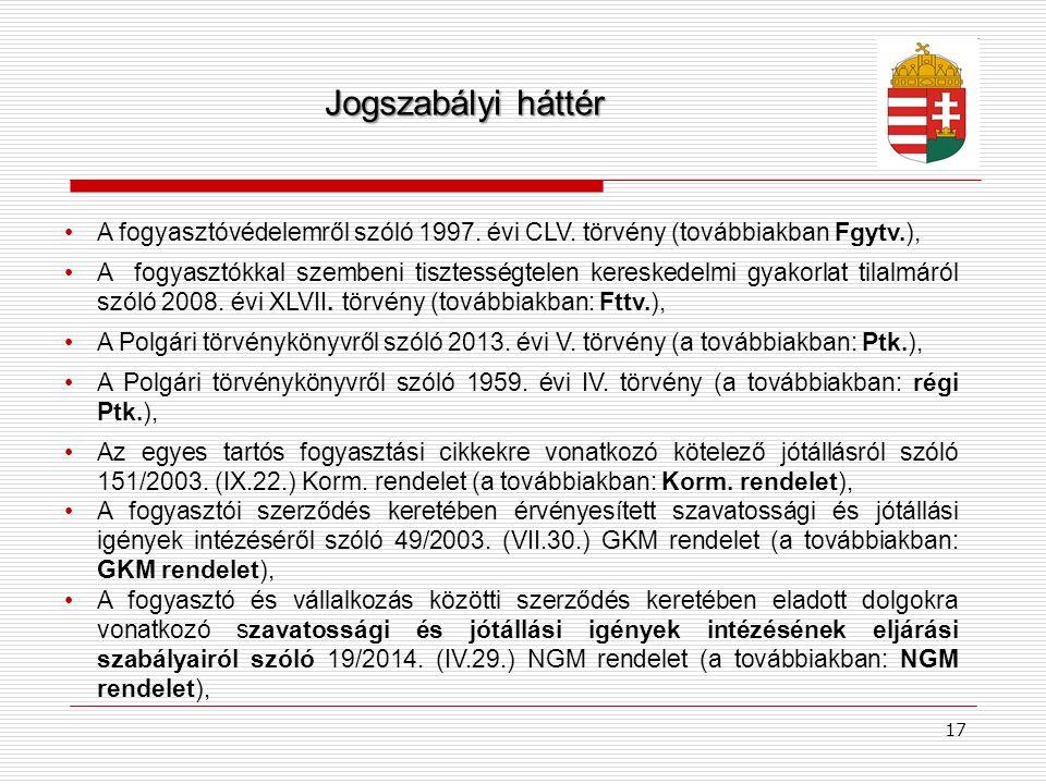 Jogszabályi háttér A fogyasztóvédelemről szóló 1997. évi CLV. törvény (továbbiakban Fgytv.),