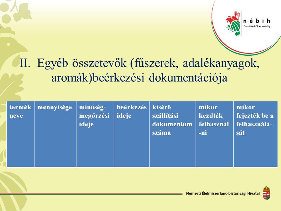 II. Egyéb összetevők (fűszerek, adalékanyagok, aromák)beérkezési dokumentációja