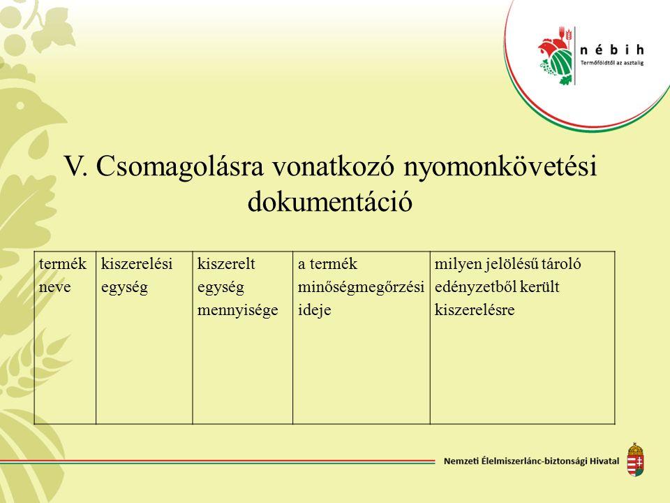 V. Csomagolásra vonatkozó nyomonkövetési dokumentáció