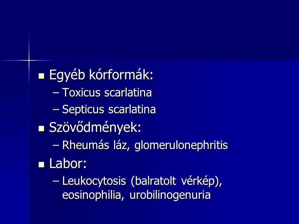 Egyéb kórformák: Szövődmények: Labor: Toxicus scarlatina