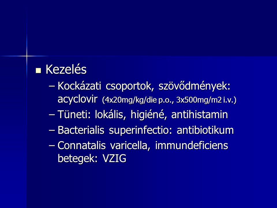 Kezelés Kockázati csoportok, szövődmények: acyclovir (4x20mg/kg/die p.o., 3x500mg/m2 i.v.) Tüneti: lokális, higiéné, antihistamin.