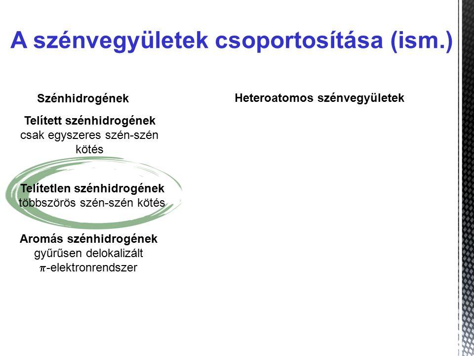 A szénvegyületek csoportosítása (ism.)