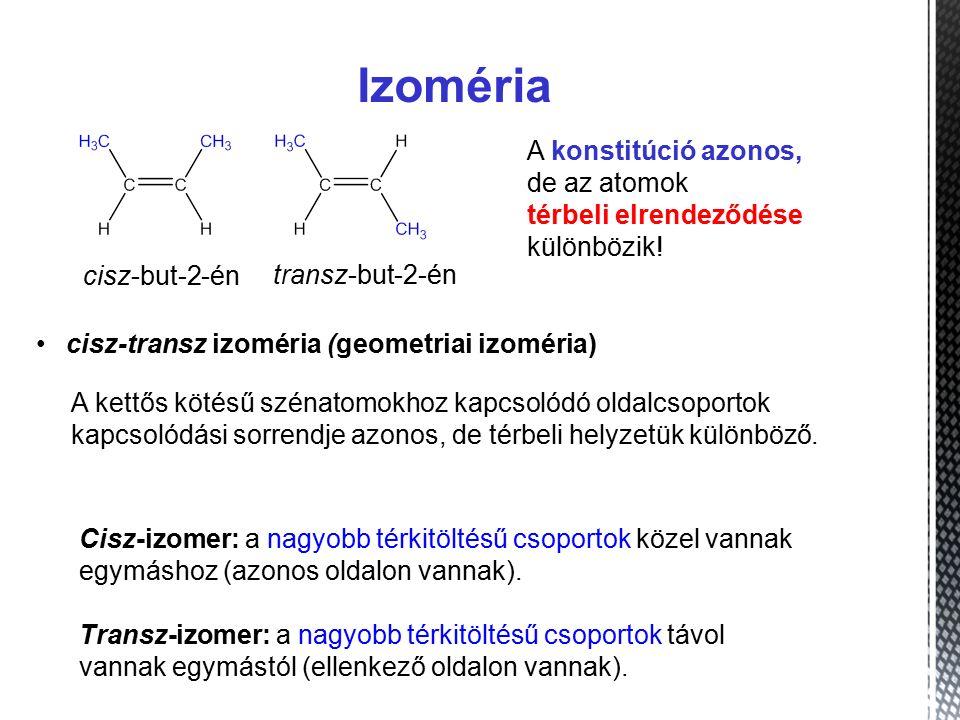 Izoméria A konstitúció azonos, de az atomok térbeli elrendeződése