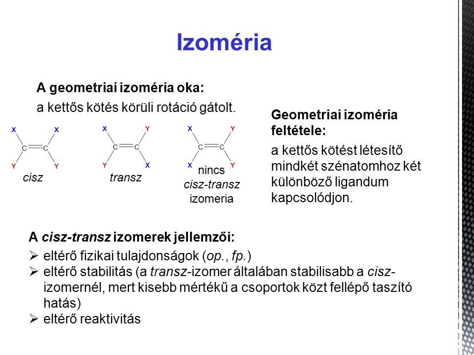 Izoméria A geometriai izoméria oka: