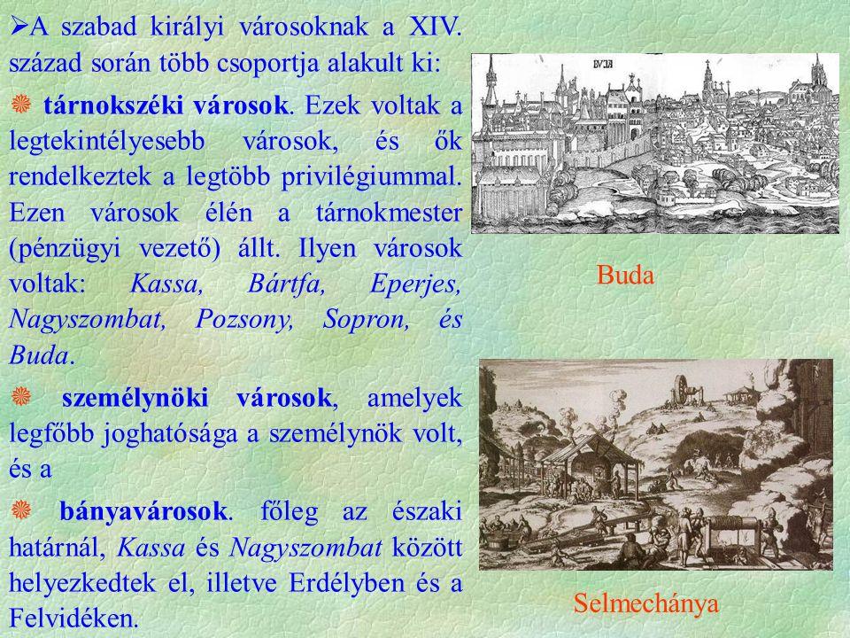 A szabad királyi városoknak a XIV