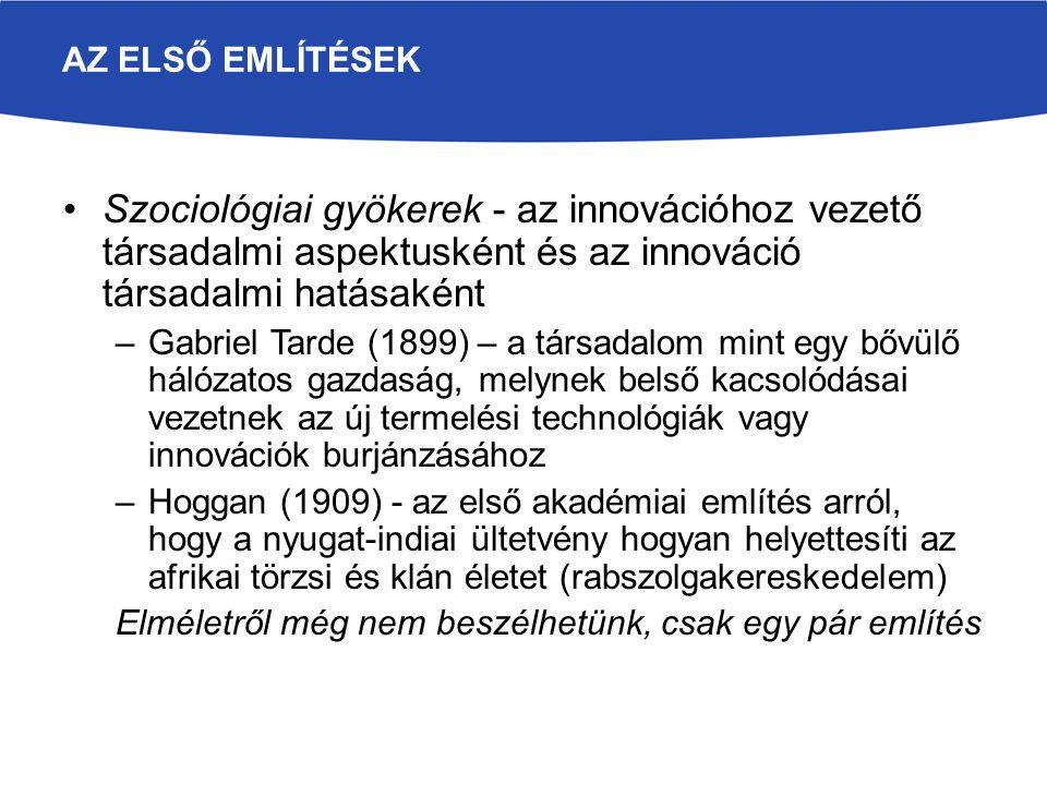 Az első említések Szociológiai gyökerek - az innovációhoz vezető társadalmi aspektusként és az innováció társadalmi hatásaként.