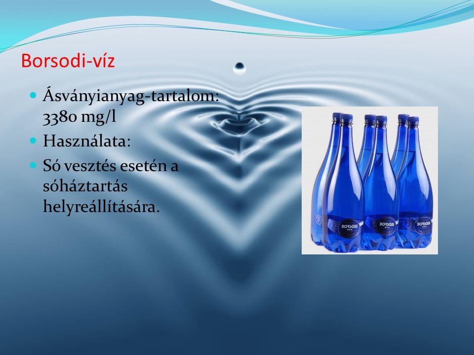 Ásványianyag-tartalom: 3380 mg/l Használata: