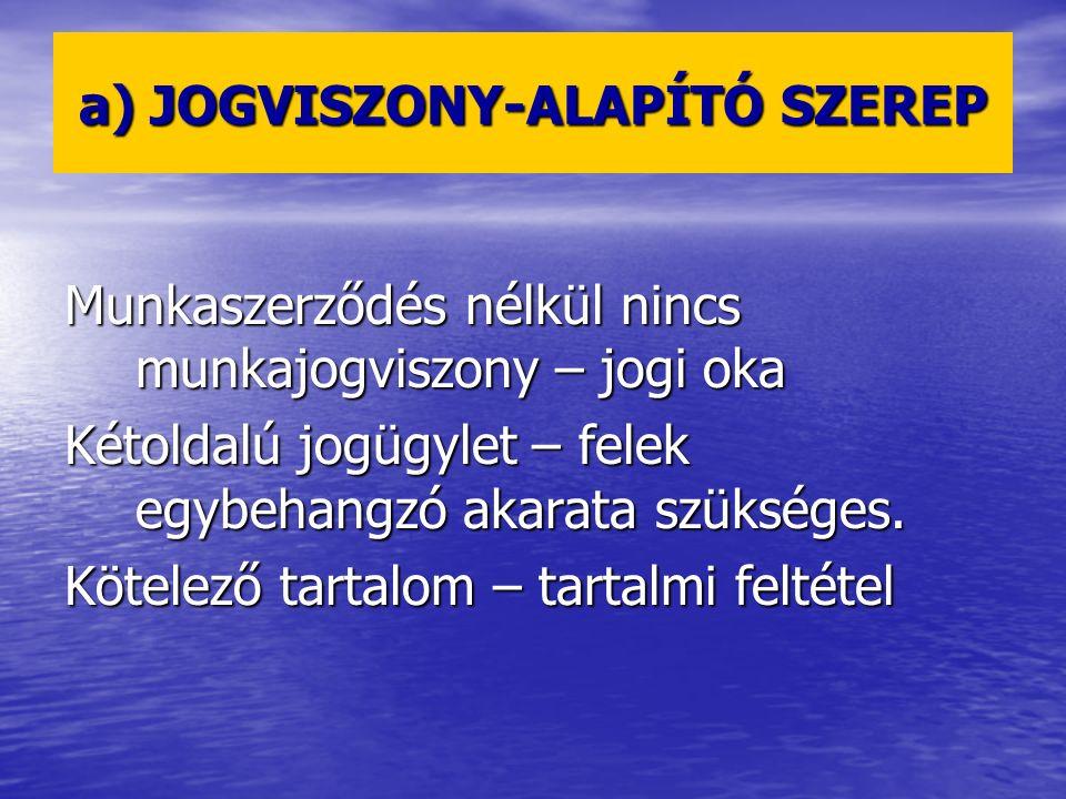 a) JOGVISZONY-ALAPÍTÓ SZEREP