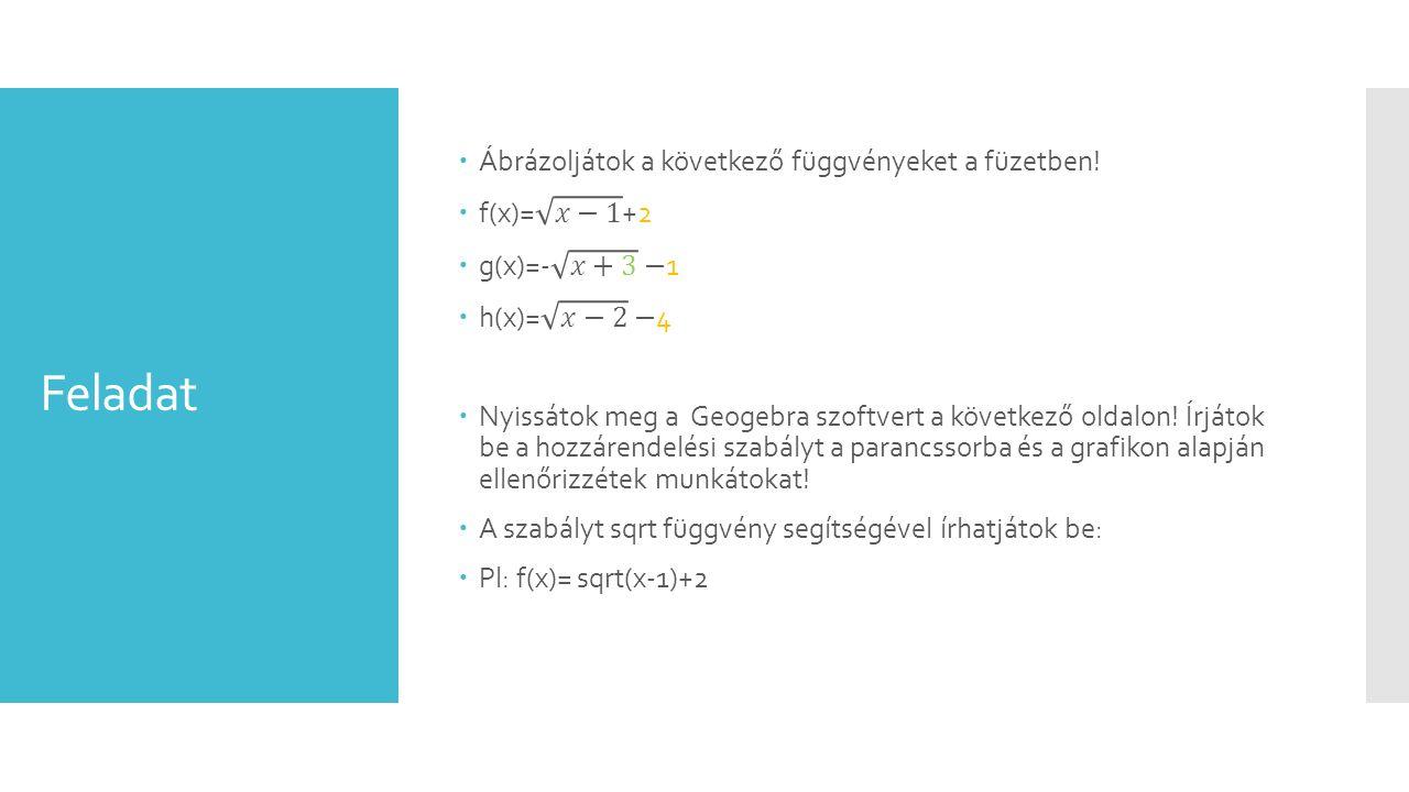 Feladat Ábrázoljátok a következő függvényeket a füzetben! f(x)= 𝑥−1 +2