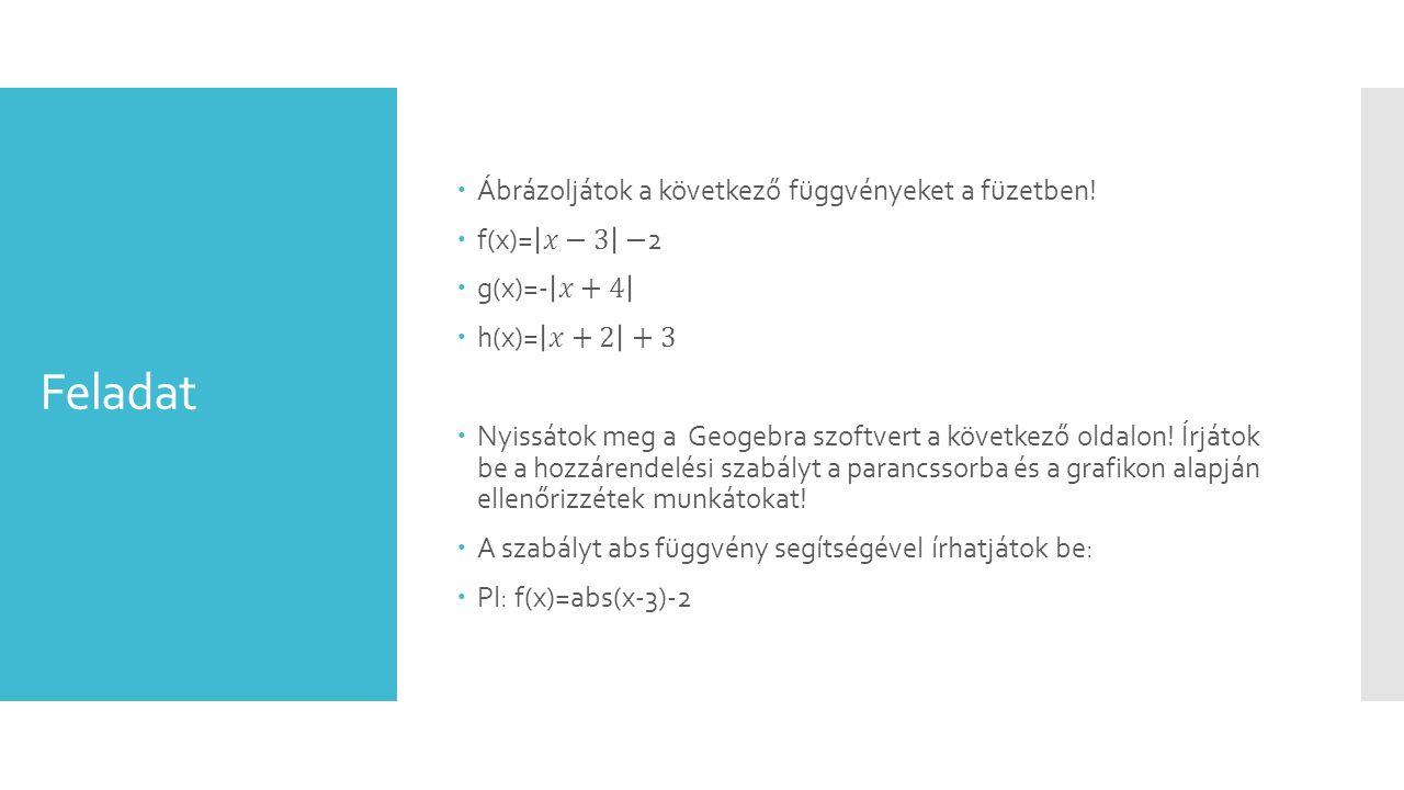 Feladat Ábrázoljátok a következő függvényeket a füzetben! f(x)= 𝑥−3 −2