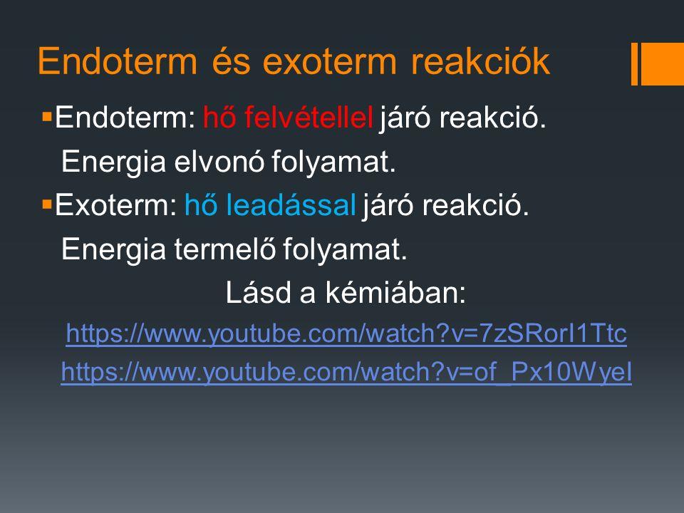 Endoterm és exoterm reakciók