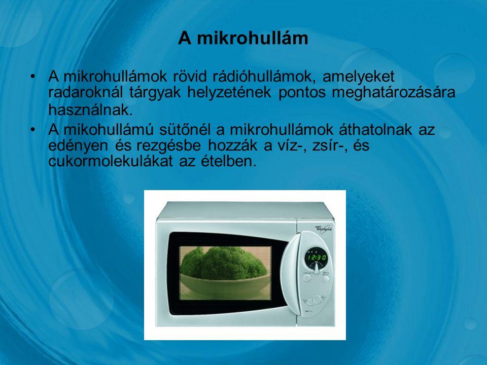 A mikrohullám A mikrohullámok rövid rádióhullámok, amelyeket radaroknál tárgyak helyzetének pontos meghatározására használnak.