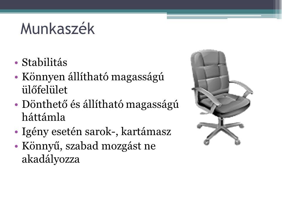 Munkaszék Stabilitás Könnyen állítható magasságú ülőfelület