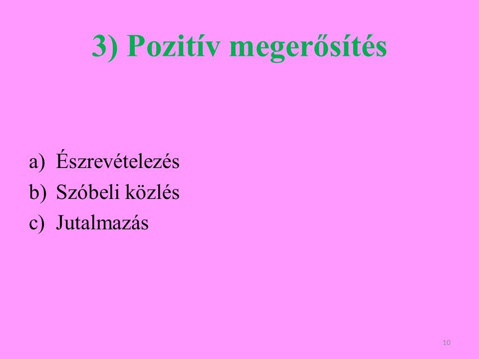 3) Pozitív megerősítés Észrevételezés Szóbeli közlés Jutalmazás