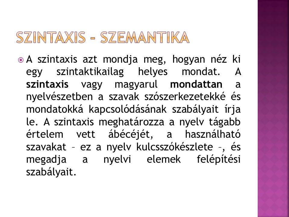 Szintaxis - szemantika