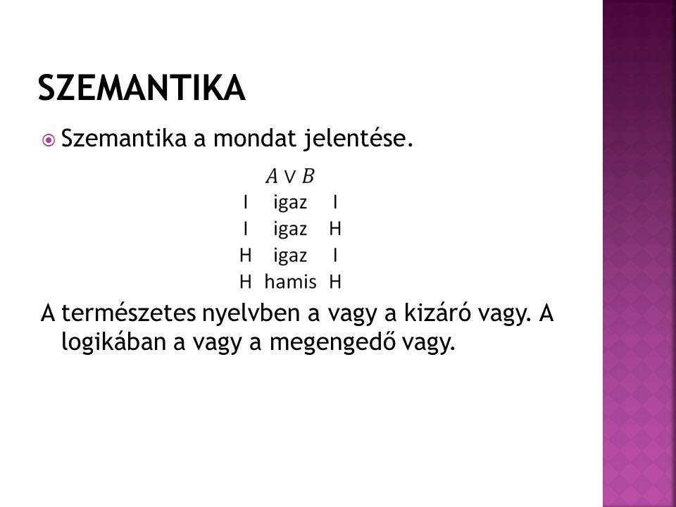 SZEMANTIKA Szemantika a mondat jelentése.