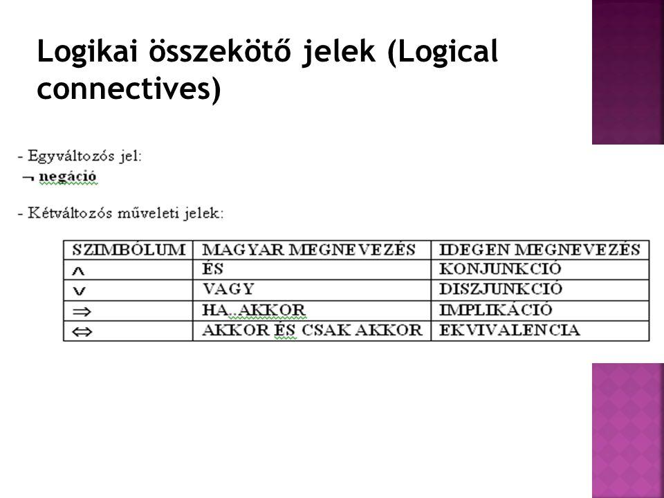 Logikai összekötő jelek (Logical connectives)
