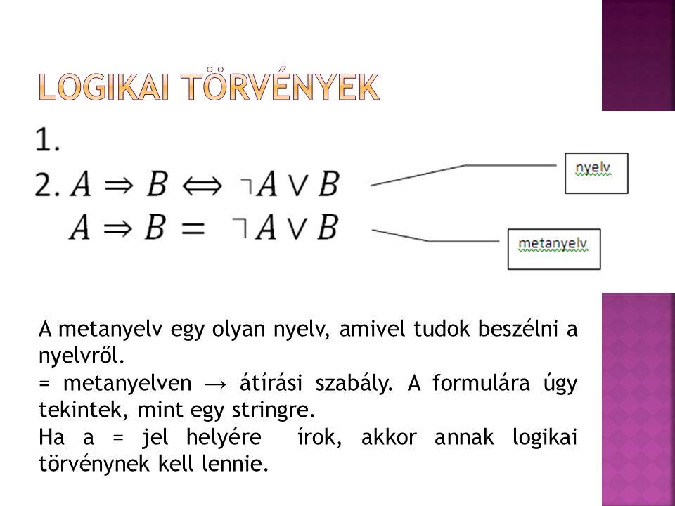 Logikai törvények A metanyelv egy olyan nyelv, amivel tudok beszélni a nyelvről.